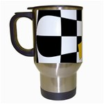 Dropout Yellow Black And White Distorted Check Travel Mugs (White) Left