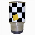 Dropout Yellow Black And White Distorted Check Travel Mugs (White) Center
