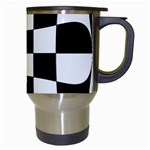 Dropout Yellow Black And White Distorted Check Travel Mugs (White) Right