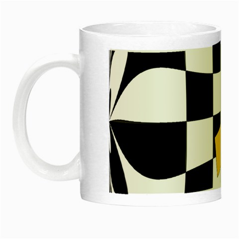 Dropout Yellow Black And White Distorted Check Night Luminous Mugs
