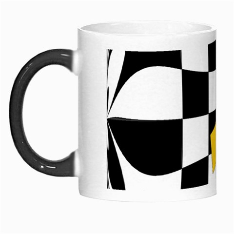Dropout Yellow Black And White Distorted Check Morph Mugs