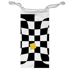 Dropout Yellow Black And White Distorted Check Jewelry Bags