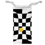 Dropout Yellow Black And White Distorted Check Jewelry Bags Front