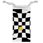 Dropout Yellow Black And White Distorted Check Jewelry Bags Back
