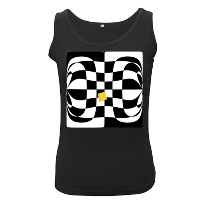 Dropout Yellow Black And White Distorted Check Women s Black Tank Top
