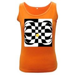 Dropout Yellow Black And White Distorted Check Women s Dark Tank Top