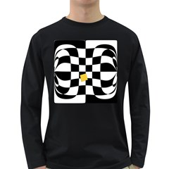 Dropout Yellow Black And White Distorted Check Long Sleeve Dark T Shirts