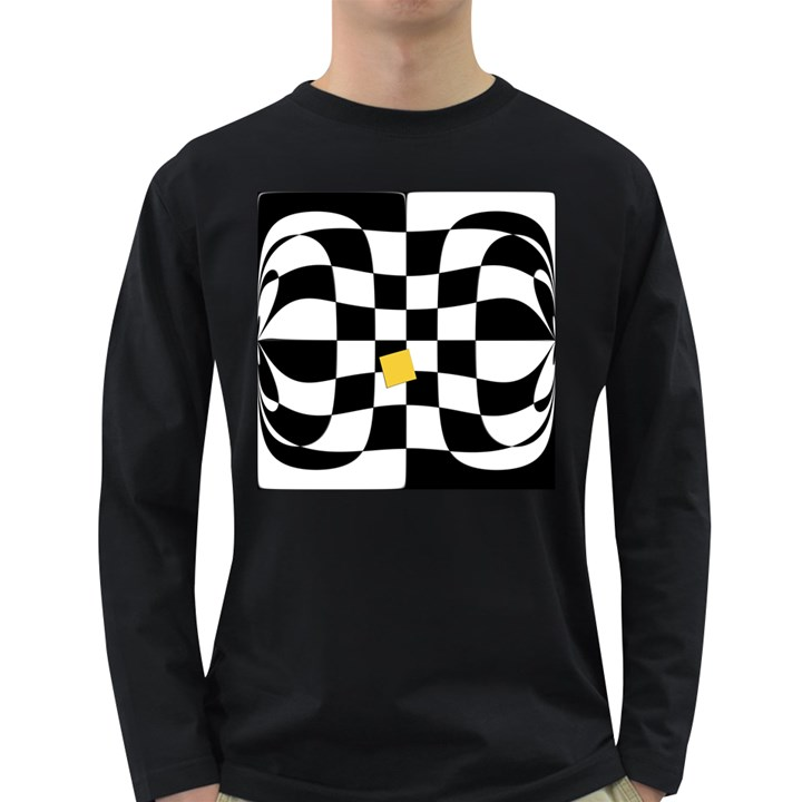 Dropout Yellow Black And White Distorted Check Long Sleeve Dark T-Shirts
