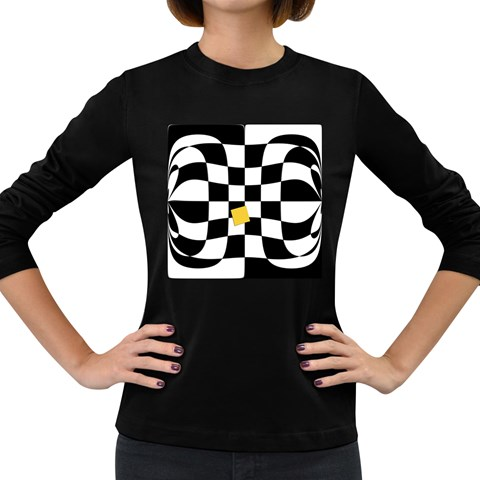 Dropout Yellow Black And White Distorted Check Women s Long Sleeve Dark T-Shirts