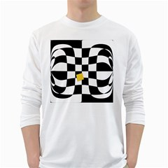 Dropout Yellow Black And White Distorted Check White Long Sleeve T-Shirts