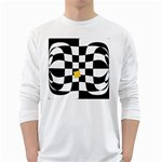 Dropout Yellow Black And White Distorted Check White Long Sleeve T-Shirts Front