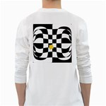 Dropout Yellow Black And White Distorted Check White Long Sleeve T-Shirts Back