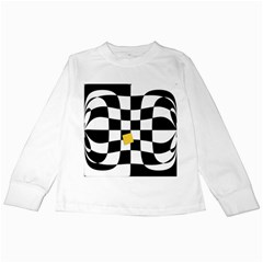 Dropout Yellow Black And White Distorted Check Kids Long Sleeve T Shirts