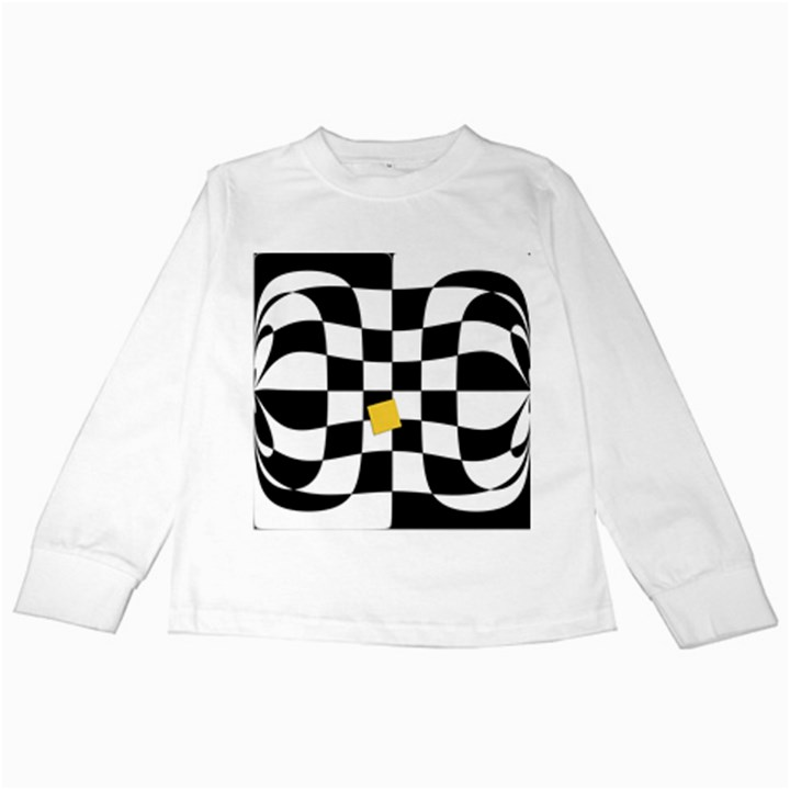 Dropout Yellow Black And White Distorted Check Kids Long Sleeve T-Shirts