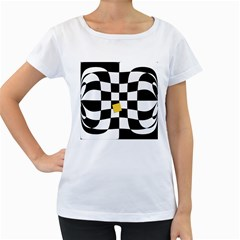 Dropout Yellow Black And White Distorted Check Women s Loose-Fit T-Shirt (White)