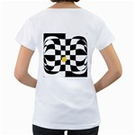 Dropout Yellow Black And White Distorted Check Women s Loose-Fit T-Shirt (White) Back