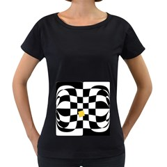 Dropout Yellow Black And White Distorted Check Women s Loose-Fit T-Shirt (Black)