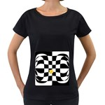 Dropout Yellow Black And White Distorted Check Women s Loose-Fit T-Shirt (Black) Front