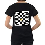 Dropout Yellow Black And White Distorted Check Women s Loose-Fit T-Shirt (Black) Back
