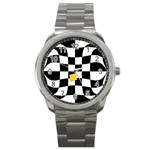 Dropout Yellow Black And White Distorted Check Sport Metal Watch Front