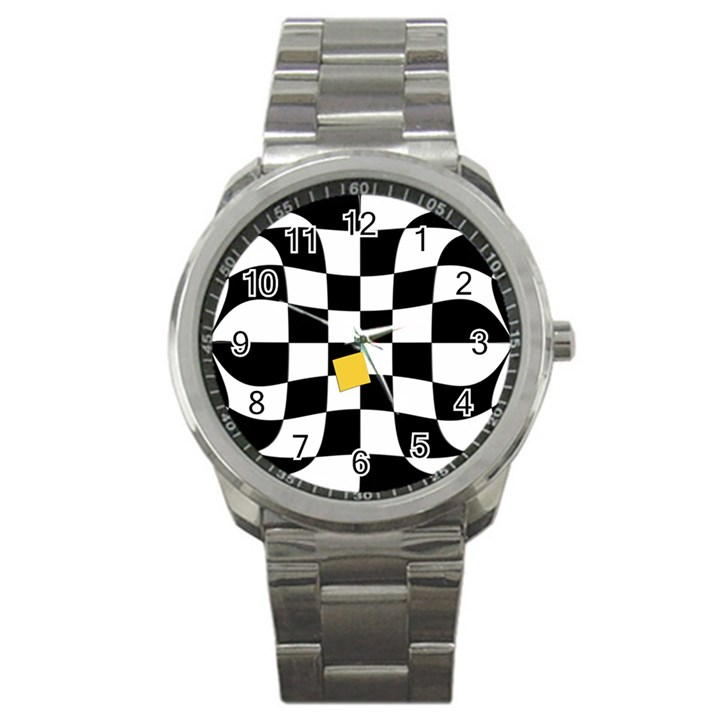 Dropout Yellow Black And White Distorted Check Sport Metal Watch