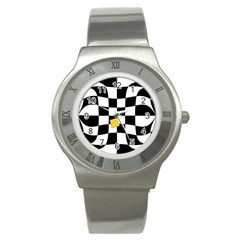 Dropout Yellow Black And White Distorted Check Stainless Steel Watch