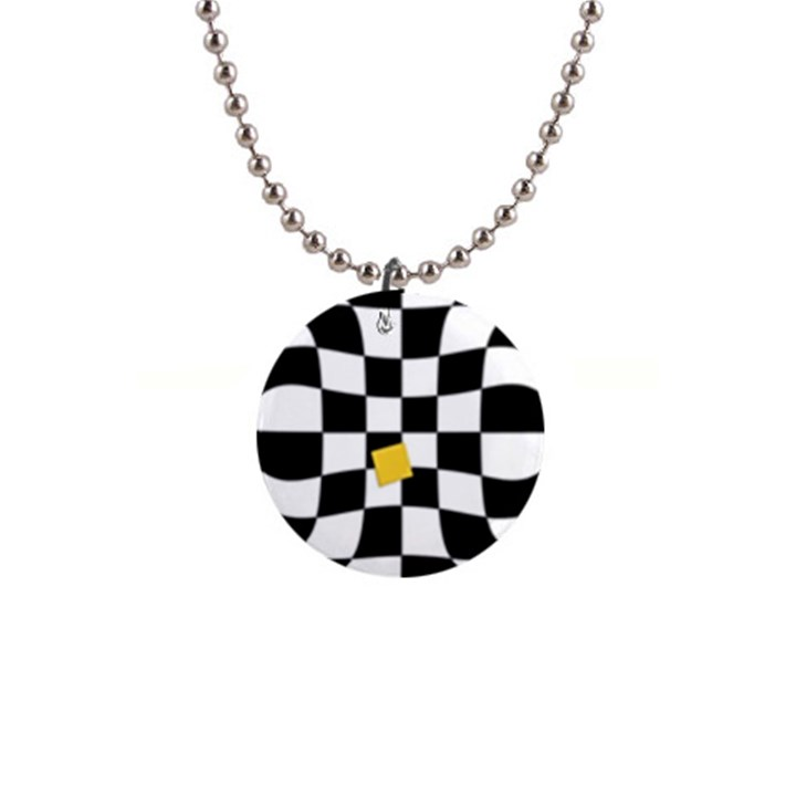 Dropout Yellow Black And White Distorted Check Button Necklaces
