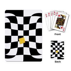 Dropout Yellow Black And White Distorted Check Playing Card