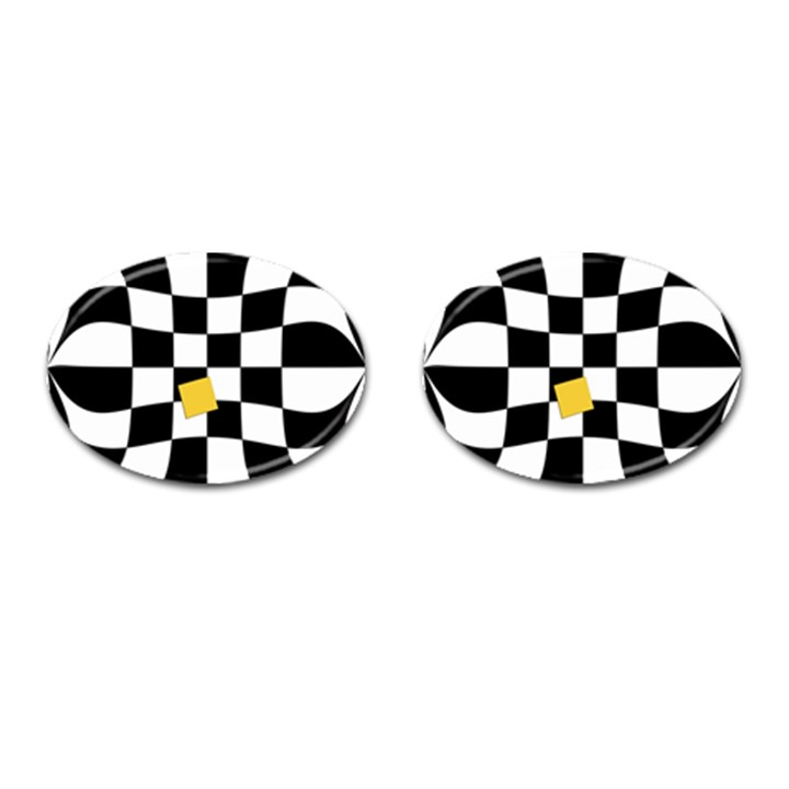 Dropout Yellow Black And White Distorted Check Cufflinks (Oval)