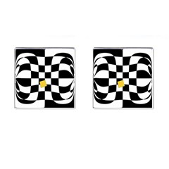 Dropout Yellow Black And White Distorted Check Cufflinks (Square)