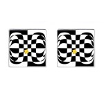 Dropout Yellow Black And White Distorted Check Cufflinks (Square) Front