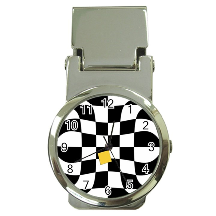 Dropout Yellow Black And White Distorted Check Money Clip Watches