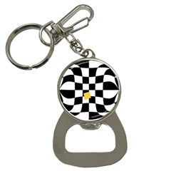 Dropout Yellow Black And White Distorted Check Bottle Opener Key Chains