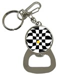 Dropout Yellow Black And White Distorted Check Bottle Opener Key Chains Front