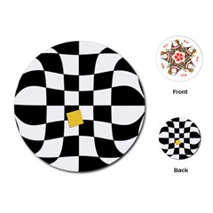 Dropout Yellow Black And White Distorted Check Playing Cards (Round)