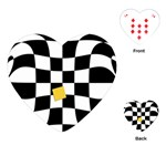 Dropout Yellow Black And White Distorted Check Playing Cards (Heart)  Front