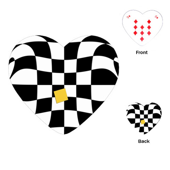 Dropout Yellow Black And White Distorted Check Playing Cards (Heart)