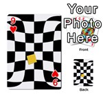 Dropout Yellow Black And White Distorted Check Playing Cards 54 Designs  Front - Heart9