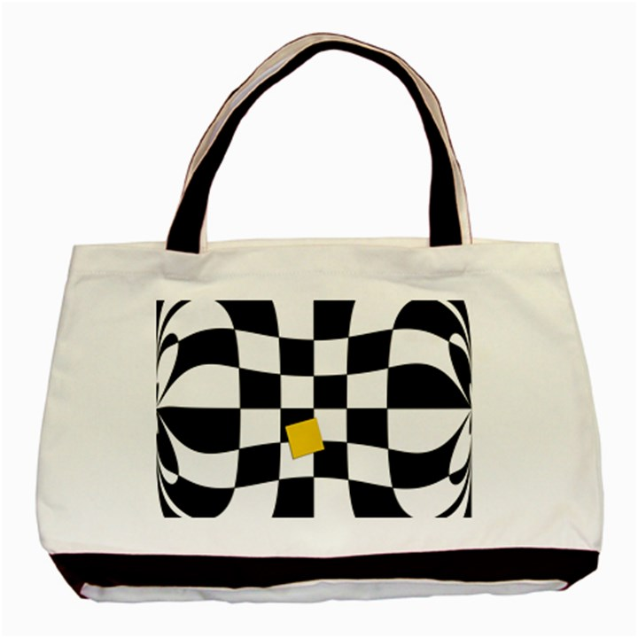 Dropout Yellow Black And White Distorted Check Basic Tote Bag