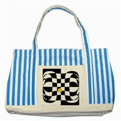 Dropout Yellow Black And White Distorted Check Striped Blue Tote Bag