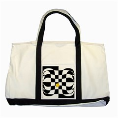 Dropout Yellow Black And White Distorted Check Two Tone Tote Bag