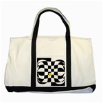 Dropout Yellow Black And White Distorted Check Two Tone Tote Bag Front