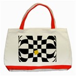 Dropout Yellow Black And White Distorted Check Classic Tote Bag (Red) Front