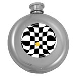 Dropout Yellow Black And White Distorted Check Round Hip Flask (5 oz) Front