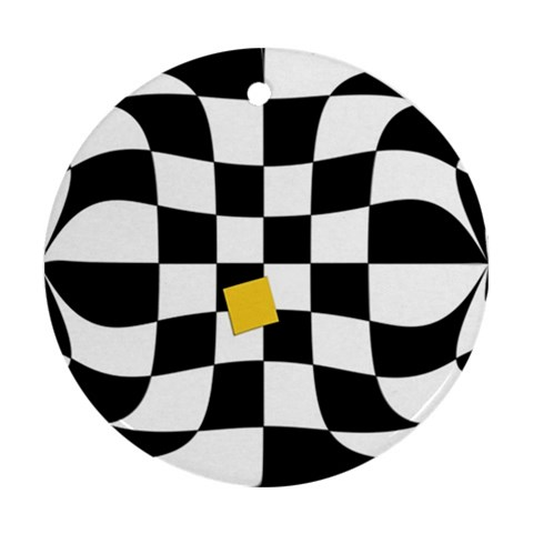 Dropout Yellow Black And White Distorted Check Round Ornament (Two Sides)