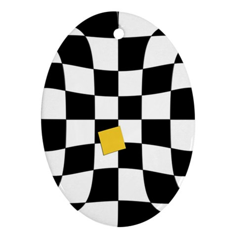 Dropout Yellow Black And White Distorted Check Oval Ornament (Two Sides)