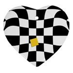 Dropout Yellow Black And White Distorted Check Heart Ornament (2 Sides) Back