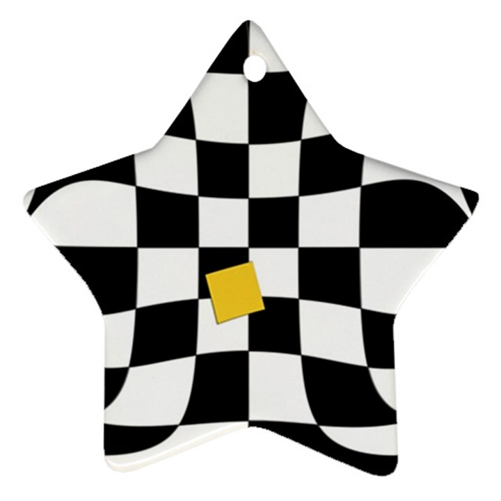 Dropout Yellow Black And White Distorted Check Star Ornament (Two Sides)