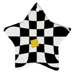 Dropout Yellow Black And White Distorted Check Star Ornament (Two Sides)  Back