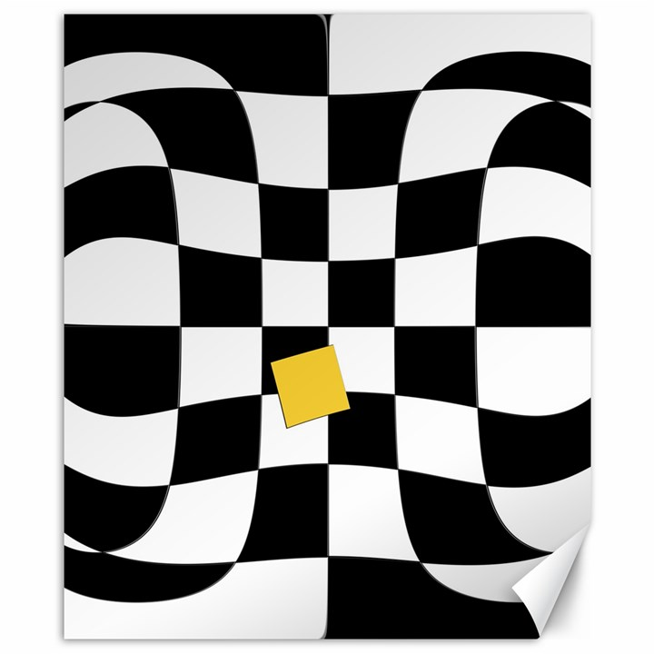 Dropout Yellow Black And White Distorted Check Canvas 8  x 10
